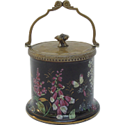 Rare, Exquisite Enamel Hand Painted Biscuit Barrel with Silver Plated Handle & Cover