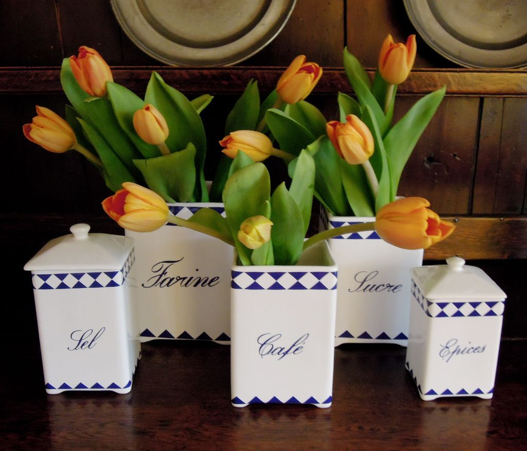 Vintage Set of Five French Canisters in Blue & White