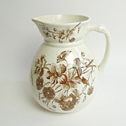 Antique English Ironstone Pitcher or Jug,  Transferware, Nasturtium
