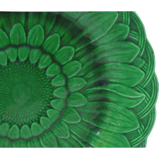 Wedgwood Majolica Green Glazed Plate, Sunflower Pattern
