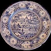 19th Century Blue & White Staffordshire Plate, Pastoral Scene