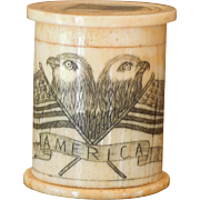 Vintage Small Ivory Resin Cylinder Box, American Flag