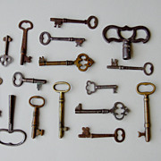 Collection of 18 Antique Skeleton Keys, Brass and Iron