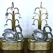 An Exceptional Pair of Art Nouveau Italian Gilt Lamps
