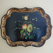 Antique English Paper Mache Tray with Hand Painted Flowers