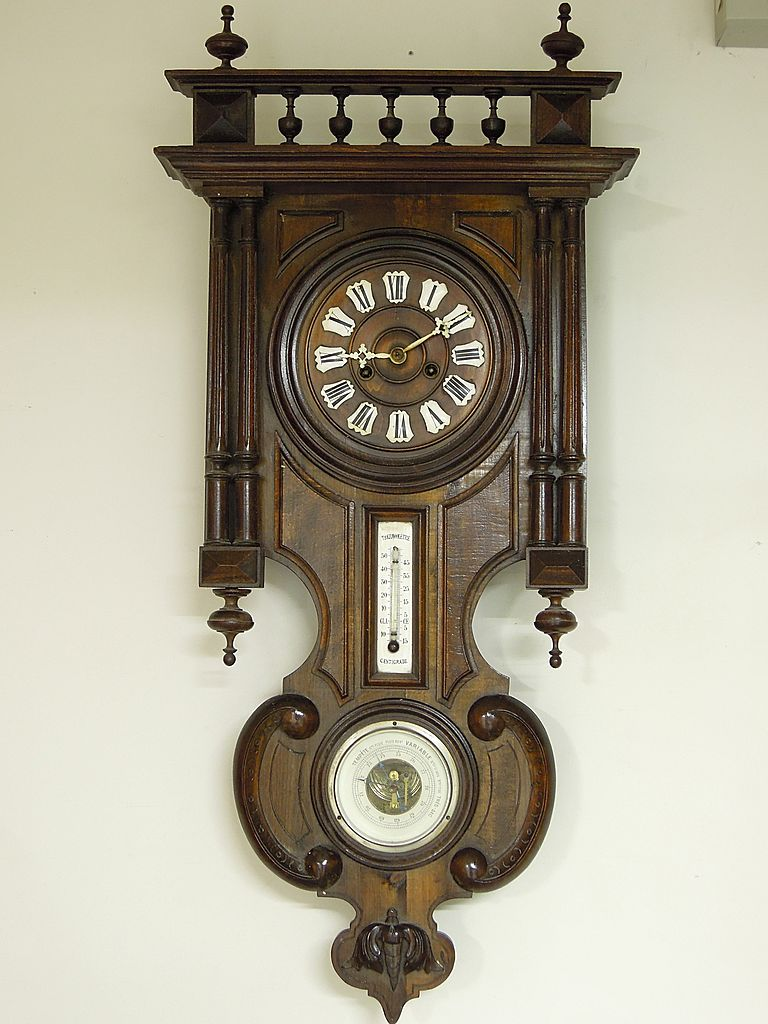 Antique German Wall Clock with Barometer & Thermometer, Ca. 1890