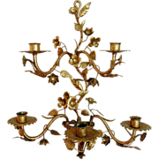 Vintage Italian Tole Sconce with Flowers, Gilt