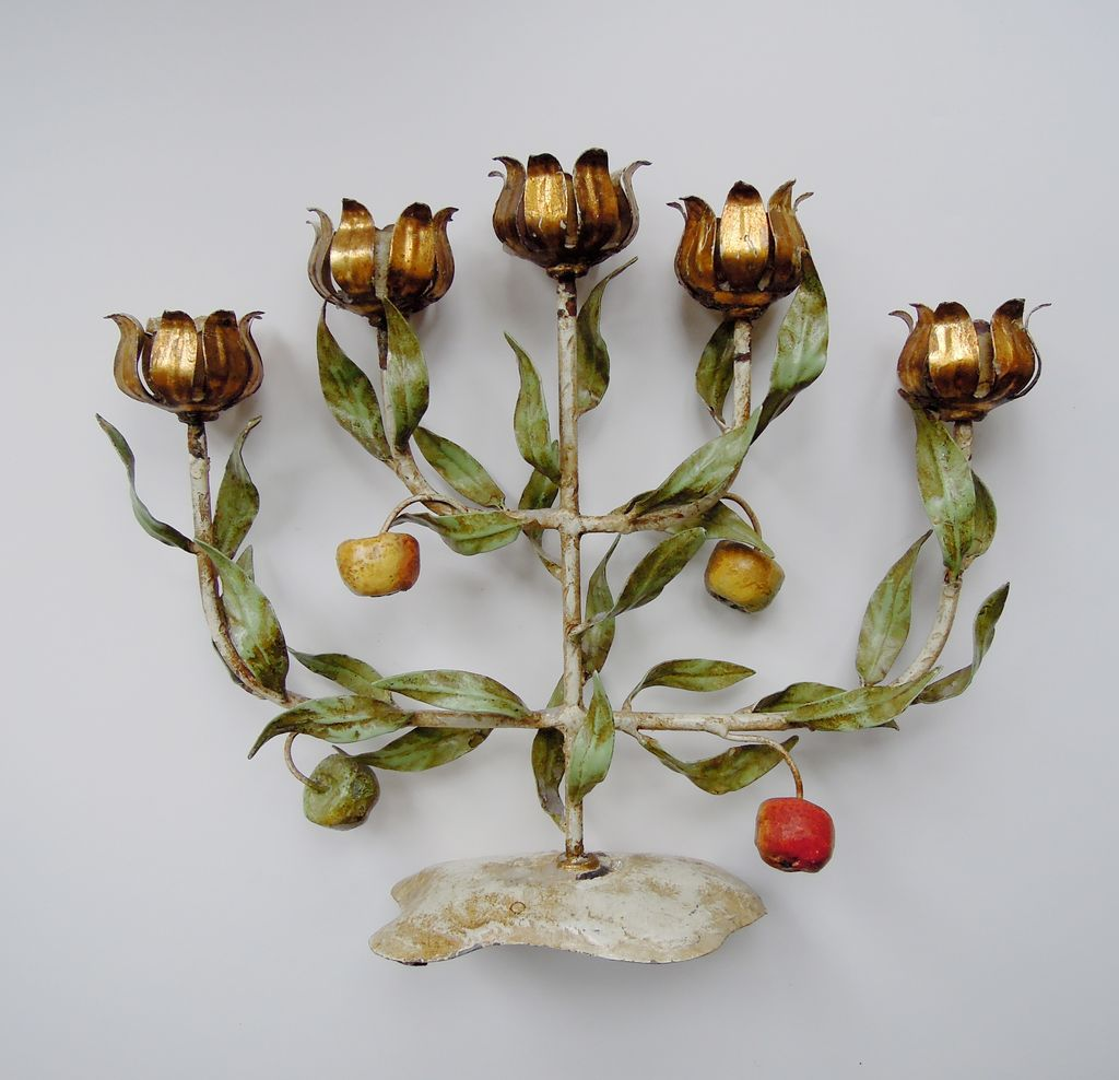 Vintage Italian Tole Espaliered Apple Tree Candelabra with Gilt Candle Cups