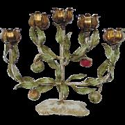 Vintage Italian Tole Espaliered Apple Tree Candelabra