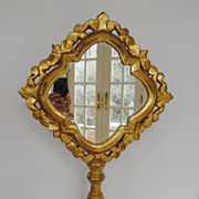 Vintage Unusual Gilt Mirror on Stand with Quatrafoil Form, 1930's