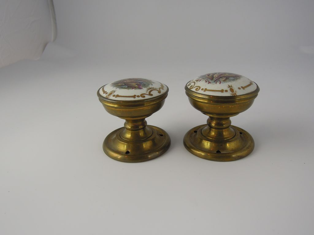 Rare unusual antique pair of brass and porcelain french for French door knobs