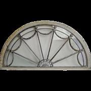 Antique Arched Fan Federal Transom Window, Original Glass
