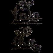 Pair of Unusual Mid Century Iron Wall Sculptures