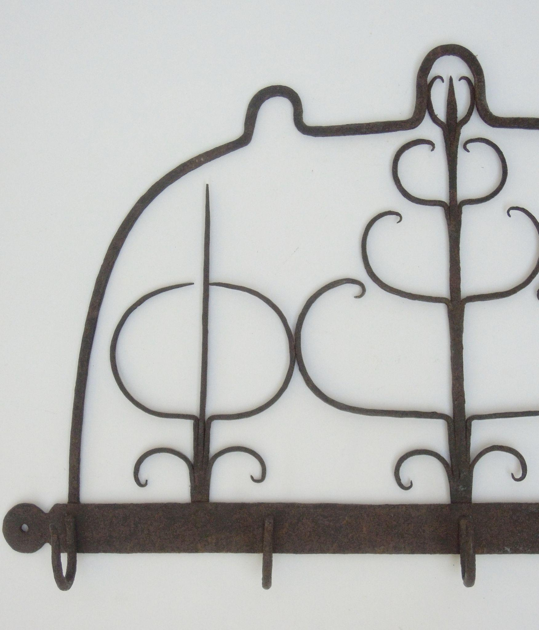 antique hand forged iron meat rack or pot rack coat hook mug roll over large image to magnify click large image to zoom