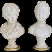 Rare Vintage Borghese Houdon Boy & Girl Pedestal Busts
