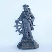 Antique English Cast Iron Sailor Door Stop, Britain's Pride, Nautical