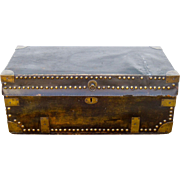 Leather Covered Camfor Wood Chinese Trunk with Brass Studs