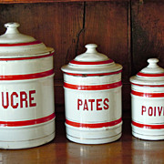 Vintage French Enamelware Canister Set in Red & White