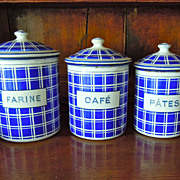 Set of 3 Vintage French Enamelware Canisters
