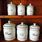 Set of Five White Vintage French Enamelware Canisters