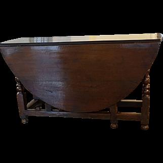Antique Oak English Gateleg Table, Sofa Table, Console