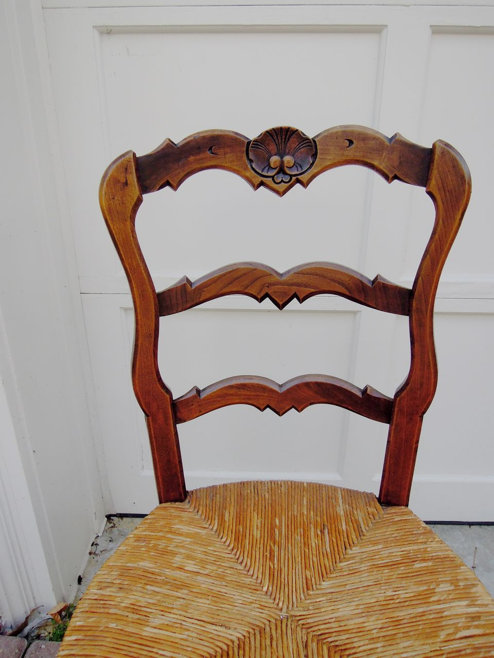 Set of Six Vintage French Carved Ladder Back Chairs with Rush Seats