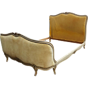 French Louis XVI Style Ivory & Gilt Full Size Bed Frame
