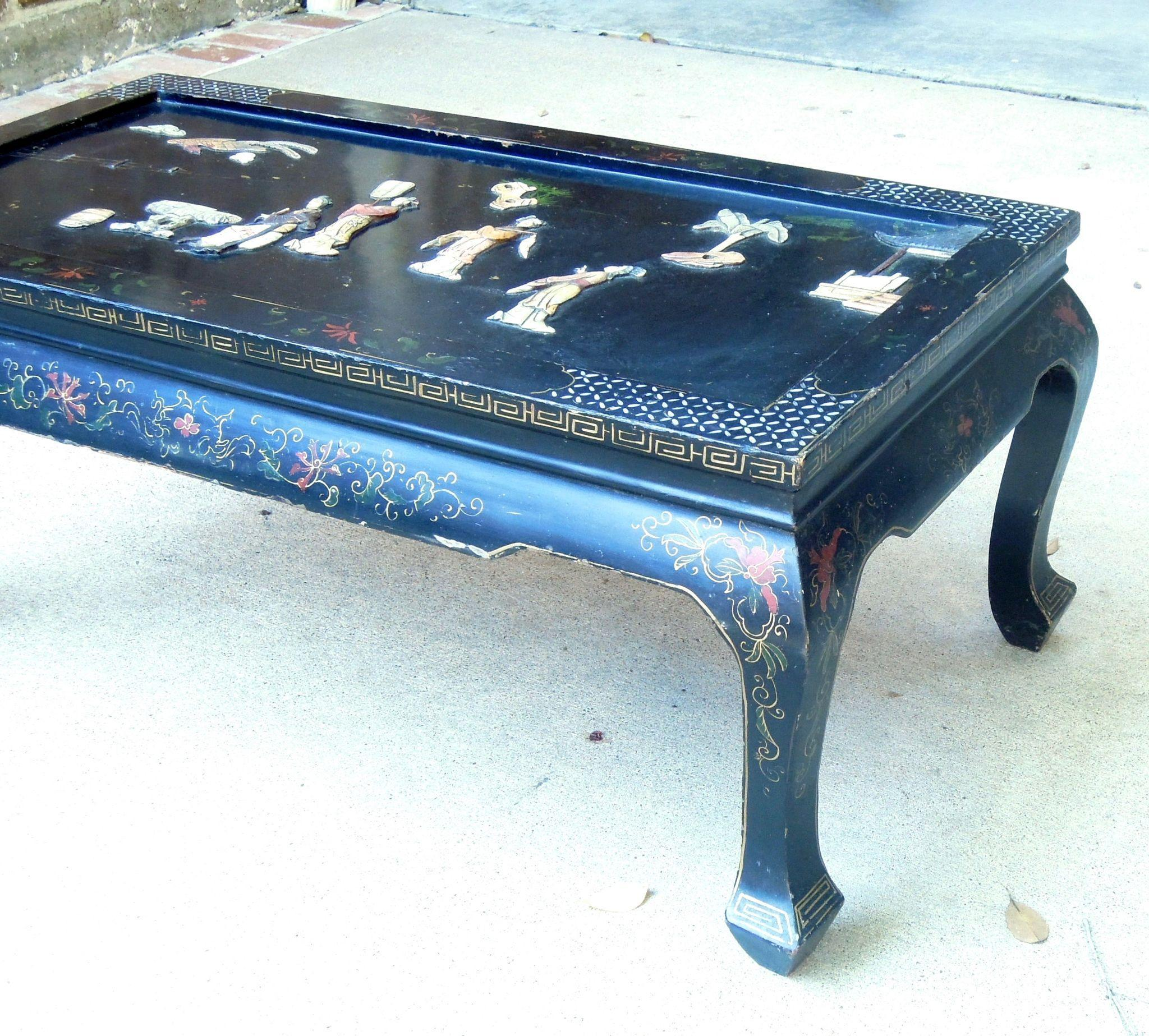 Vintage Chinoiserie Black Coffee Table from theun monmarket on