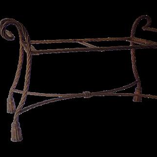 Vintage Italian Iron Bench with Tassels, Gilt