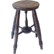 Antique English Elm Stool, Side Table