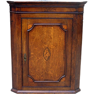 Charming Antique English Oak Corner Display Cabinet