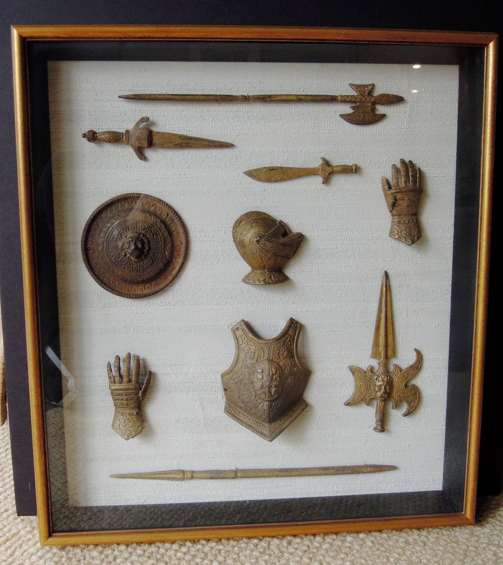 A Wonderful Collection of Ancient Armor Museum Pieces, Framed