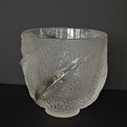 Lalique Glass Bowl, France, French, Feathers