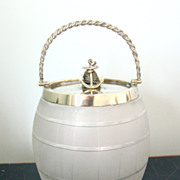 Antique English Glass Biscuit Barrel with Rope & Anchor, Nautical