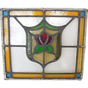 Very Old English Stained Lead Glass Panel