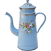Antique French Enamelware Coffee Pot, Biggin