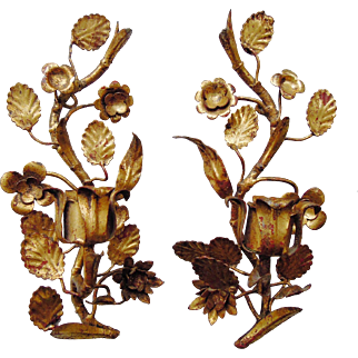 A Pair of Vintage Italian Tole Gilt Sconces