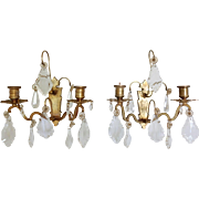 Antique French Bronze & Crystal Wall Sconces
