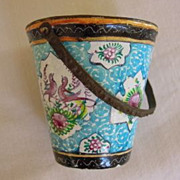 Fabulous Antique Enamel Pail with Flowers ca.1800