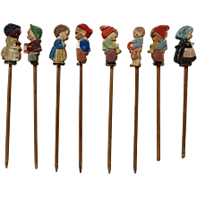 Set of Vintage Wood Food Picks with Carved Hand Painted Children Figures, Cake Picks