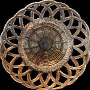 Vintage Metal Wire Fruit Basket, Compote, Gilt