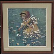 Vintage Framed Jessie Wilcox Needlework