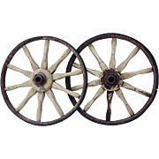 Pair of Wonderful Vintage Wagon Wheels with Original White Paint