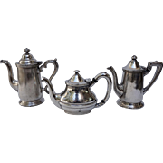 Set of Three Hotel Silver Coffee or Tea Pots