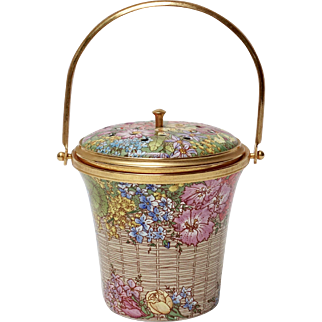 Halcyon Days Enamel Potpouri Container with Handle, Basket