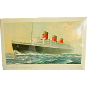 Rare Cunard White Star Line RMS Queen Mary Advertising Sign