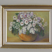 Wonderful Framed Vintage Oil Painting with Flowers Signed