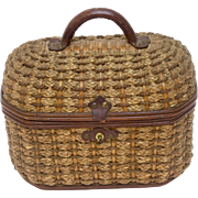 Antique French Basket Woven Purse, Handbag
