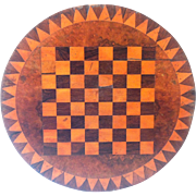Vintage Round Checkerboard, Game Board, Treen