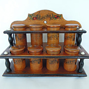 Antique Wood Spice Rack, Cabinet, Treen